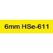 HSe-611 Compatible 6mm Black on Yellow Heatshrink