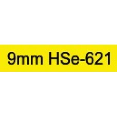 HSe-621 Compatible 9mm Black on Yellow Heatshrink