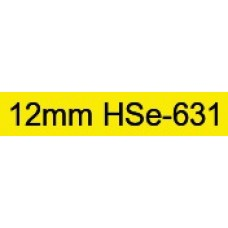 HSe-631 Compatible 12mm Black on Yellow Heatshrink