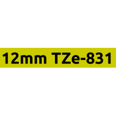 TZe-831 12mm Black on gold